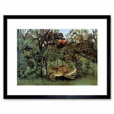 Animals Rousseau Hungry Lion Jungle Painting Framed Art Print Poster 12x16 Inch