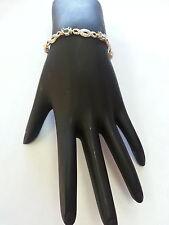 Gold Plated 925 Sterling Silver Bracelet With 7 Light Blue Gem Stones
