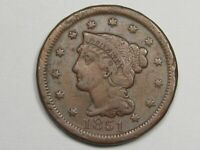 1851 US Braided Hair Large Cent Coin.  #4