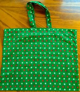 New Handmade Reusable Fabric Cloth SMALL TOTE BAG Gift Book Lunch GREEN w. STARS