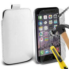 Blanco Funda de Cuero Sintético con Lengüeta Funda & Cristal para Apple Iphone 6