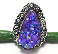 35cts Superb Ring Titanium Druzy Gemstone 925 Sterling Silver Plated Sz 8.5