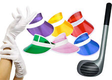 Pub Golf Set Group 6x visor 6x Gloves 6x Golf clubs Fancy Dress Uni