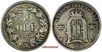 SWEDEN Oscar II Silver 1877 EB 50 Ore Mintage-149,000 RARE DATE KM# 740