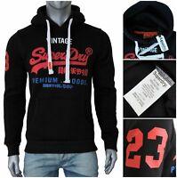 New Mens Superdry Hoodies Fleece Sweatshirts Black-Red Top Jumpers All Sizes