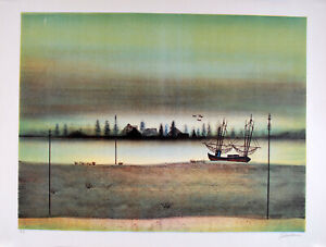 Antonio RIVERA s/n Lithography Landscape boat fishing 1980