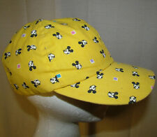 Vintage DISNEY CHARACTER Hat Sz ADULT -MICKEY MOUSE Stretch Cap Gold USA MADE