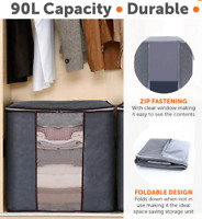 3 Pcs Under bed Clothes Storage Bags Zipped Organiser Wardrobe Cube Closet Boxes