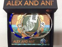 Alex and Ani Color Infusion Peacock Set of 2 Shiny Silver NWTBC