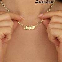 Amaxer Figaro Chain Custom Name Gothic Gold Necklace Mother Gift Women Jewelry