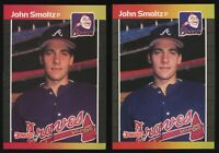 1989 DONRUSS JOHN SMOLTZ #642 LOT OF 2 ROOKIE CARDS BRAVES RC