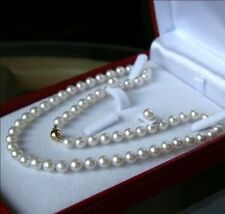 """8MM White Akoya shell Pearl Round Beads Necklace Earrings Set 18"""" AAA Grade"""