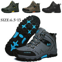 Mens Waterproof Leather Winter Work Boots Outdoor Warm Fur Inside Hiking Shoes