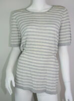 St John Gray Silk Striped Knit Short Sleeve Waist Top Sweater Blouse S 4 6 SM