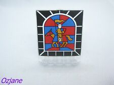 LEGO PART 30102PX2 DOOR 2 X 5 X 5 SWIVEL FLAT BASE WITH STAINED GLASS KNIGHT