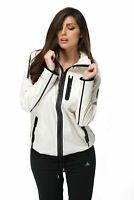 adidas Womens White Windbreaker Full Zip Hooded Tech Running Fitness Jacket AA09
