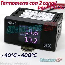 TERMOMETRO A 2 DUE CANALI PT1000 RTD TERMORESISTENZA SONDA SENSORE temperatura