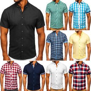 Kurzarmhemd Freizeithemd Herrenhemd Shirt Classic Motiv Herren Mix BOLF Kariert