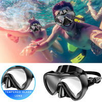Adult Silicone Scuba Swimming Snorkeling Diving Mask Tempered Lens Glass Goggles