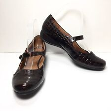 Women's NATURALIZER Brown Croc Print Mary Jane Loafers Size 8.5 M