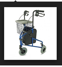 3 Wheel Rollator Lightweight Tri Walker 6.8 kg. Tray and Basket Blue col BR NEW
