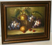 Vintage Oil on Canvas Board Still Life Painting - Fruit Basket Framed Signed 13""