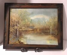OOAK Mexican Frame w Winter Sunrise Oil Painting by Unknown Artist