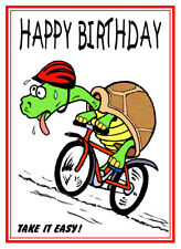 CYCLING CYCLIST BIKE FUNNY JOKE CARTOON HAPPY BIRTHDAY CARD FREE POST 1ST CLASS