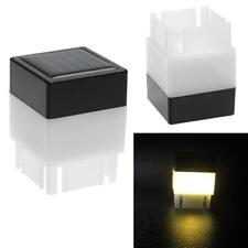 Square Waterproof LED Solar Light Fence Post Pool Garden Lamp Warm White