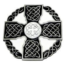 Celtic Knot & Cross Belt Buckle Black & White Authentic Dragon Designs Product