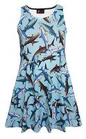 Kids / Girls Cute Shark Sealife Rockabilly Flare Skater Dress Size 5 -10 Years