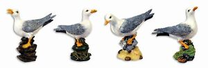 "Hand Painted 4"" Assorted Seagull Bird Statue Figurine Sculpture 75T (Set of 4)"