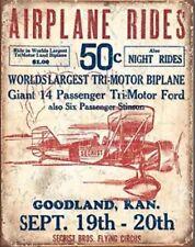 Vintage Style Metal Tin Sign Flying Circus Airplane Rides Travel  Poster