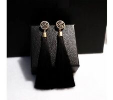 NEW BLACK LONG TASSLE FRINGE  WITH ROSE TASSEL EARRINGS XMAS LADIES GIFT BT12
