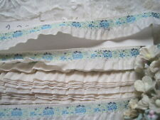 Vintage French Rayon Jacquard White With Blue Flowers Ribbon Trim, 4 Yards