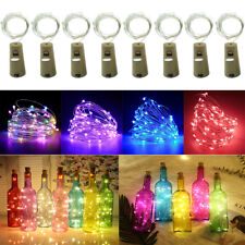 15 20 LED Wine Bottle Cork Fairy Lights Warm Cool White Multi-Color Xmas Party #