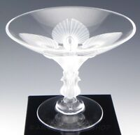 Lalique France Crystal VIRGINIA PEACOCK FOOTED COMPOTE BOWL