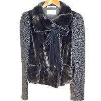 YSL Yves Saint Laurent Mink Chinchilla Velvet tie Coat Black Coat Formal M VTG