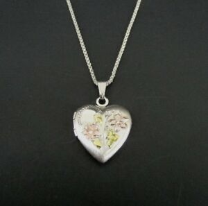 Tri Color Look Dainty Locket Flowers Sterling Silver 925 Chain Pendant NECKLACE