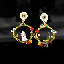 Boucles d'Oreilles Clous Doré Anneau Chat Chien Papillon Email Rouge Vert L2