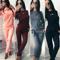 2Pcs Women Tracksuit Hoodies Sweatshirt Top Pants Sets Sport Yoga Casual Suit