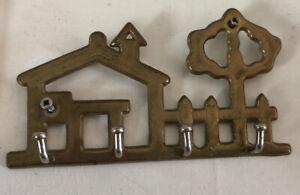 Vintage Brass Key Holder - House and Tree Outline