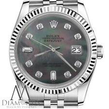 Rolex 31mm Datejust Black Pearl 8+2 Diamond Dial Jubilee Stainless Steel Ladies