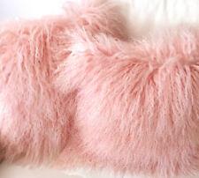 Kissen Tibet Lammfell mongolisches Schaffell Bonbon rosa 35x35 cm mit Inlett