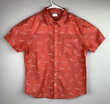 Men/'s New Medium Tango Red Budweiser Logo Print S//S Button Up Shirt