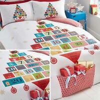 Christmas Duvet Covers White Advent Calendar Pocket Kids Quilt Cover Bedding Set