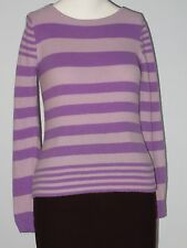 JONES NEW YORK Petite Size S Purple Striped Knit Long Sleeve Sweater