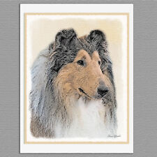 6 Rough Collie Dog Blank Art Note Greeting Cards