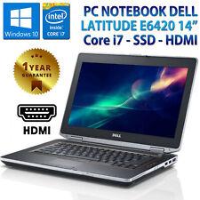 """PC NOTEBOOK PORTATILE 14"""" RICONDIZIONATO DELL E6420 CORE i7 8GB SSD 240GB HDMI"""