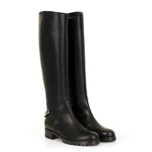 CHRISTIAN LOUBOUTIN 1395$ Black Calfskin Leather Croche Cate Boots